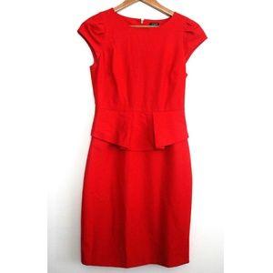 J. Crew Red Cap Sleeve Peplum Interview Dress 0